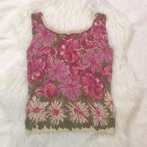 Anthropologie Odille Sweater Tank Top Floral Print
